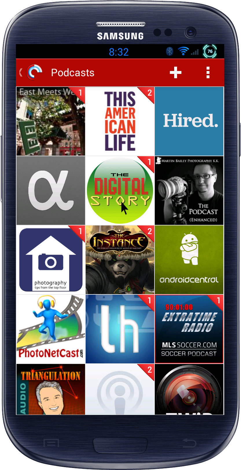 First page of podcasts on a GS3 phone. East Meets West, This American Life, Hired, App.Net, The Digital Story, Martin Bailey Podcast, Tips From the Top Floor, The Instance, Android Central, PhotoNetCast, Lifehacker, Extra Time Radio.