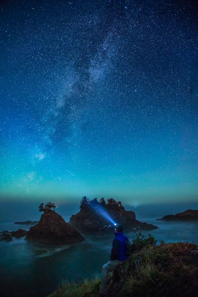 Zach during a starry night with the milkyway